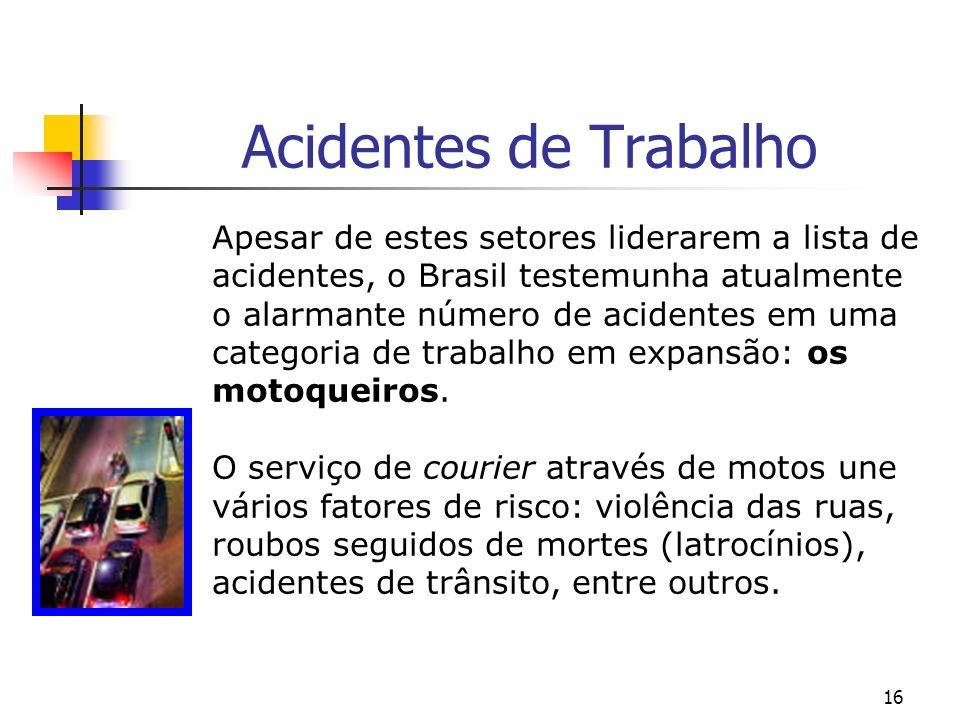 16 Acidentes de Trabalho Apesar de estes setores liderarem a lista de acidentes, o Brasil testemunha atualmente o alarmante número de acidentes em uma categoria de trabalho em expansão: os motoqueiros.
