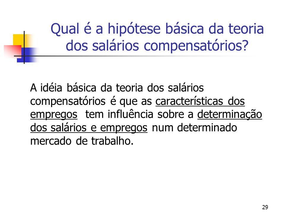 29 Qual é a hipótese básica da teoria dos salários compensatórios.