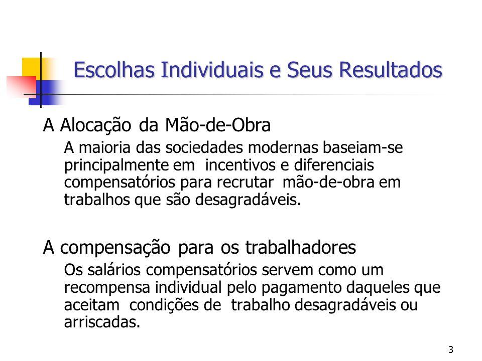 64 DIFERENCIAIS COMPENSATÓRIOS DE SALÁRIOS – A OFERTA DE TRABALHADORES EM EMPREGOS ARRISCADOS Se os diferenciais salariais forem elevados, é mais provável que um dado trabalhador acabe aceitando um emprego arriscado.