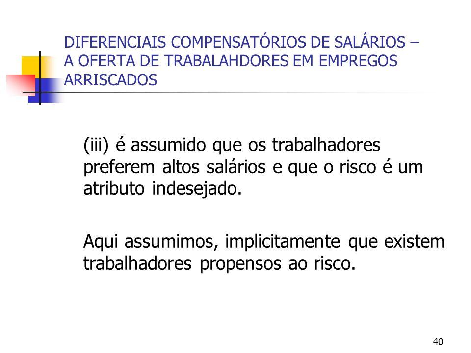 40 DIFERENCIAIS COMPENSATÓRIOS DE SALÁRIOS – A OFERTA DE TRABALAHDORES EM EMPREGOS ARRISCADOS (iii) é assumido que os trabalhadores preferem altos salários e que o risco é um atributo indesejado.