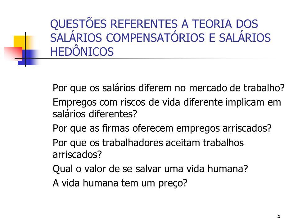 5 QUESTÕES REFERENTES A TEORIA DOS SALÁRIOS COMPENSATÓRIOS E SALÁRIOS HEDÔNICOS Por que os salários diferem no mercado de trabalho.
