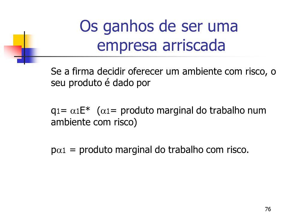76 Os ganhos de ser uma empresa arriscada Se a firma decidir oferecer um ambiente com risco, o seu produto é dado por q 1 = 1 E* ( 1 = produto marginal do trabalho num ambiente com risco) p 1 = produto marginal do trabalho com risco.