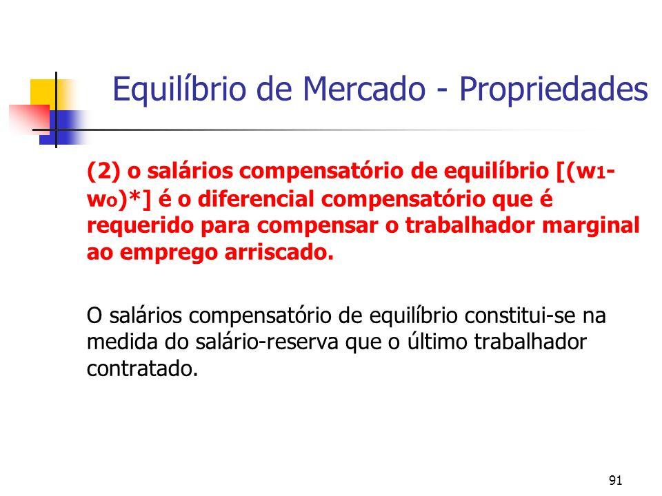 91 Equilíbrio de Mercado - Propriedades (2) o salários compensatório de equilíbrio [(w 1 - w o )*] é o diferencial compensatório que é requerido para compensar o trabalhador marginal ao emprego arriscado.