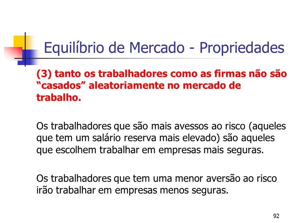 92 Equilíbrio de Mercado - Propriedades (3) tanto os trabalhadores como as firmas não são casados aleatoriamente no mercado de trabalho.