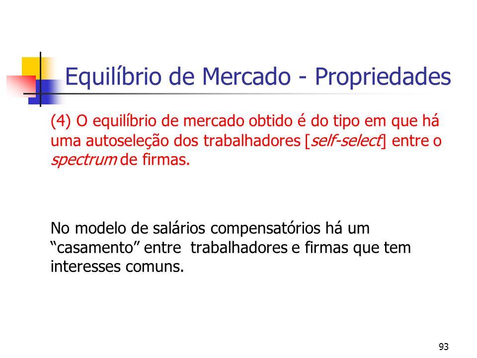 93 Equilíbrio de Mercado - Propriedades (4) O equilíbrio de mercado obtido é do tipo em que há uma autoseleção dos trabalhadores [self-select] entre o spectrum de firmas.