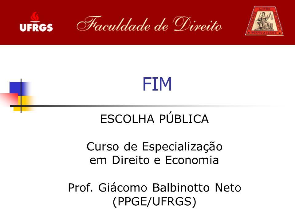FIM ESCOLHA PÚBLICA Curso de Especialização em Direito e Economia Prof.