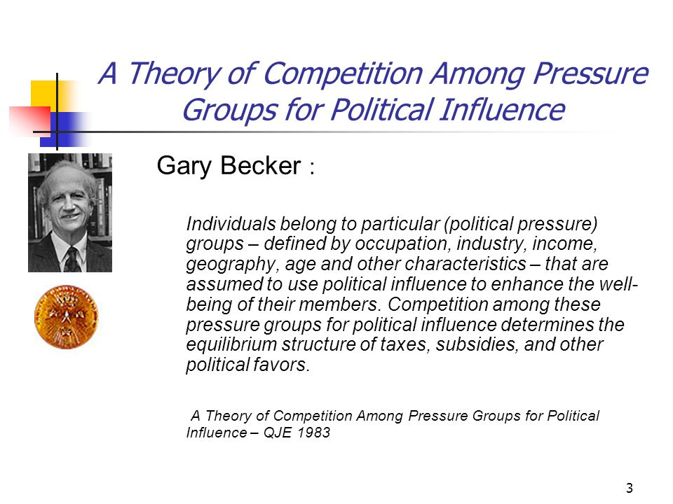 3 A Theory of Competition Among Pressure Groups for Political Influence Gary Becker : Individuals belong to particular (political pressure) groups – defined by occupation, industry, income, geography, age and other characteristics – that are assumed to use political influence to enhance the well- being of their members.