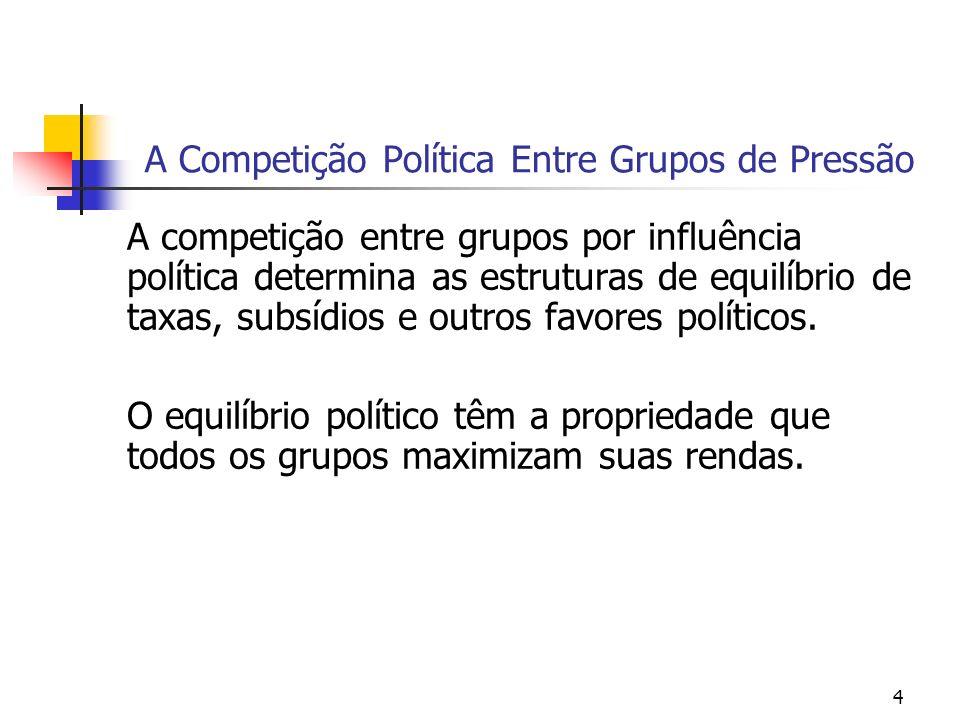 4 A Competição Política Entre Grupos de Pressão A competição entre grupos por influência política determina as estruturas de equilíbrio de taxas, subsídios e outros favores políticos.