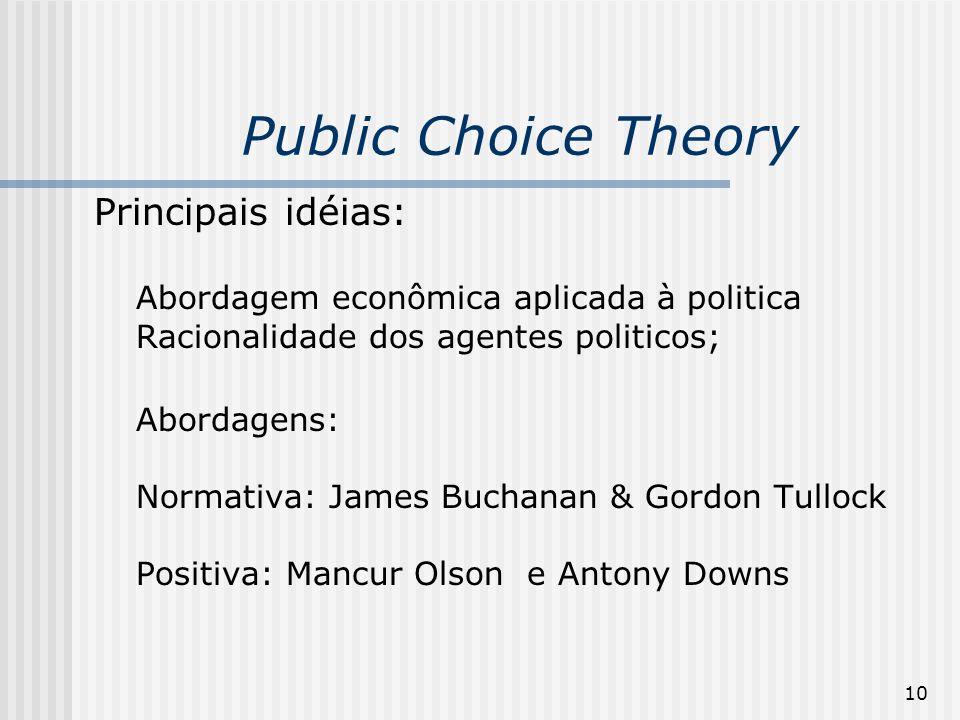 10 Public Choice Theory Principais idéias: Abordagem econômica aplicada à politica Racionalidade dos agentes politicos; Abordagens: Normativa: James B
