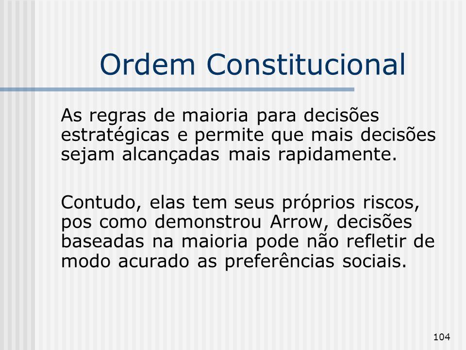 104 Ordem Constitucional As regras de maioria para decisões estratégicas e permite que mais decisões sejam alcançadas mais rapidamente. Contudo, elas