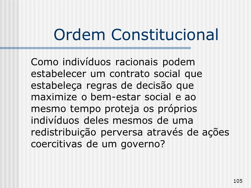 105 Ordem Constitucional Como indivíduos racionais podem estabelecer um contrato social que estabeleça regras de decisão que maximize o bem-estar soci