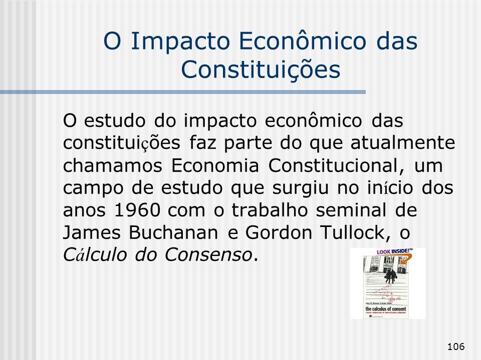 106 O Impacto Econômico das Constituições O estudo do impacto econômico das constitui ç ões faz parte do que atualmente chamamos Economia Constitucion