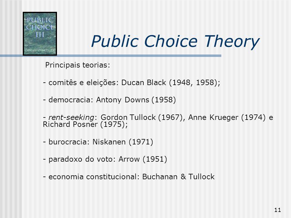 11 Public Choice Theory Principais teorias: - comitês e eleições: Ducan Black (1948, 1958); - democracia: Antony Downs (1958) - rent-seeking: Gordon T