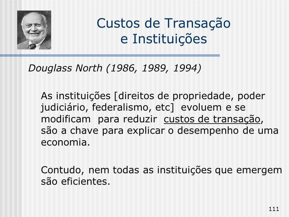 111 Custos de Transação e Instituições Douglass North (1986, 1989, 1994) As instituições [direitos de propriedade, poder judiciário, federalismo, etc]