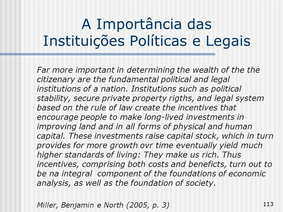 113 A Importância das Instituições Políticas e Legais Far more important in determining the wealth of the the citizenary are the fundamental political