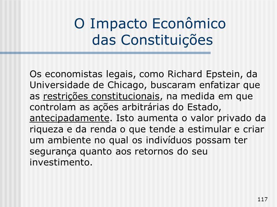 117 O Impacto Econômico das Constituições Os economistas legais, como Richard Epstein, da Universidade de Chicago, buscaram enfatizar que as restri ç