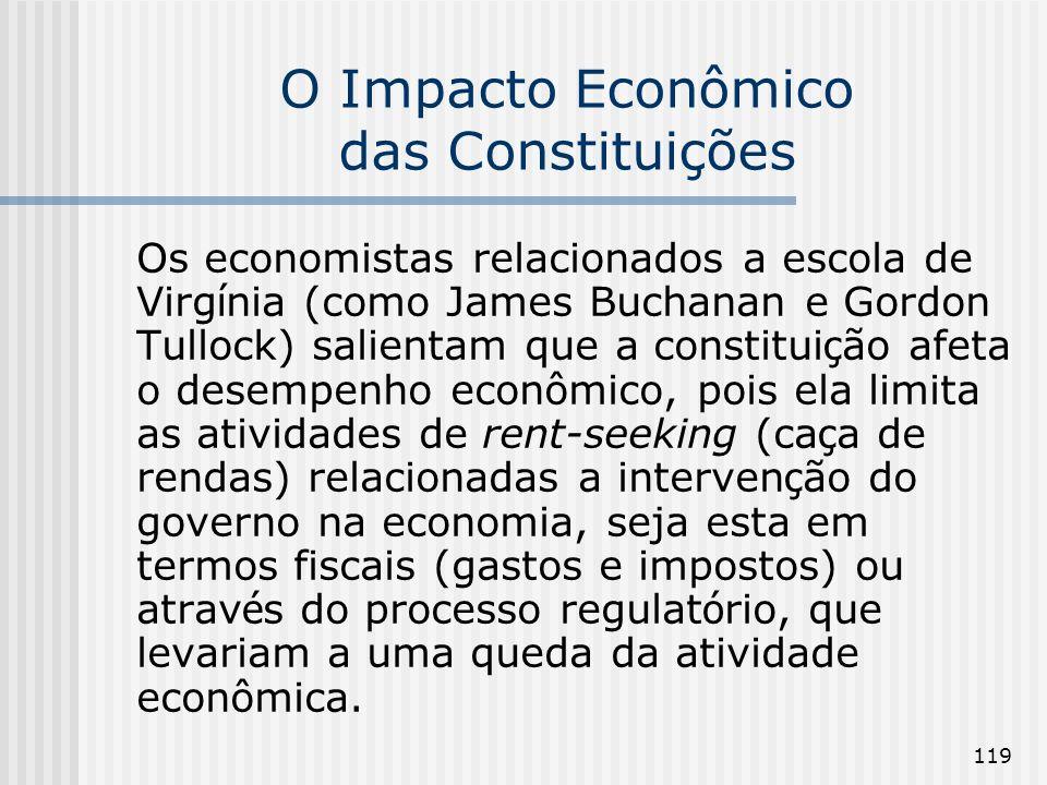 119 O Impacto Econômico das Constituições Os economistas relacionados a escola de Virg í nia (como James Buchanan e Gordon Tullock) salientam que a co