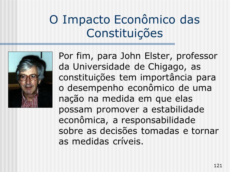121 O Impacto Econômico das Constituições Por fim, para John Elster, professor da Universidade de Chigago, as constitui ç ões tem importância para o d