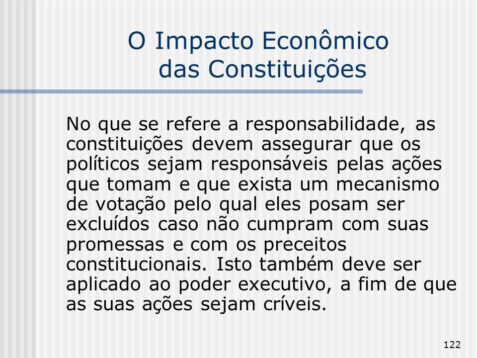 122 O Impacto Econômico das Constituições No que se refere a responsabilidade, as constitui ç ões devem assegurar que os pol í ticos sejam respons á v