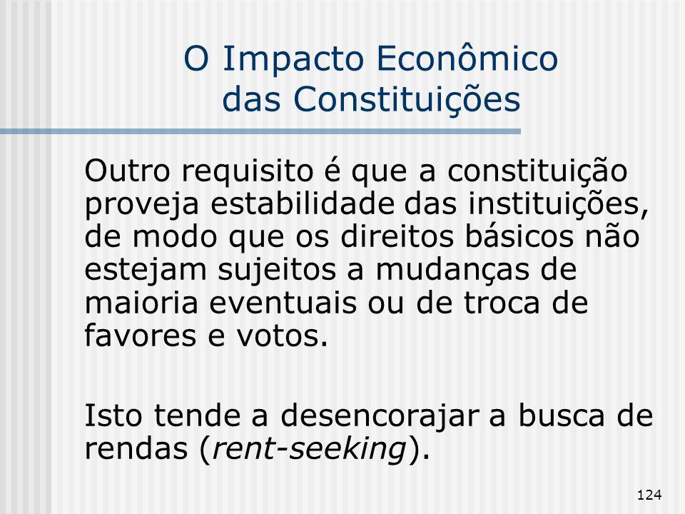 124 O Impacto Econômico das Constituições Outro requisito é que a constitui ç ão proveja estabilidade das institui ç ões, de modo que os direitos b á