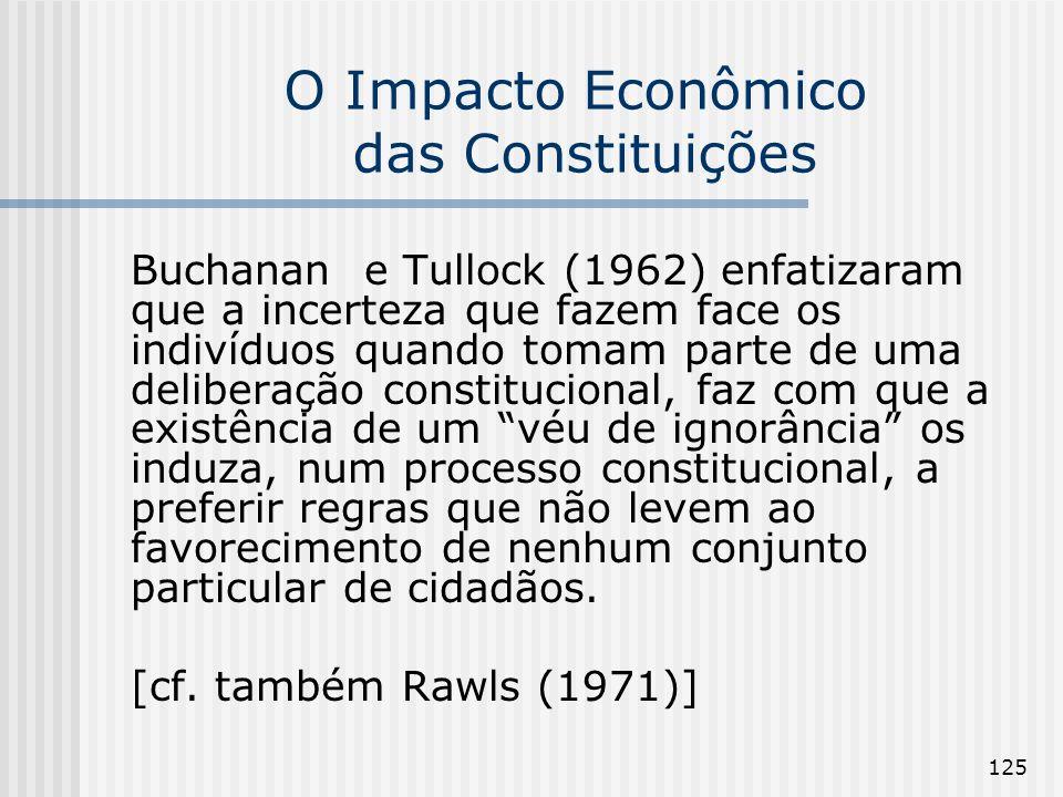 125 O Impacto Econômico das Constituições Buchanan e Tullock (1962) enfatizaram que a incerteza que fazem face os indivíduos quando tomam parte de uma