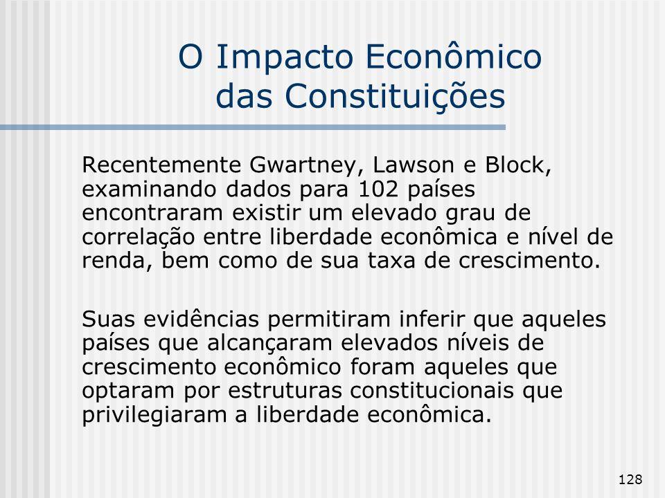 128 O Impacto Econômico das Constituições Recentemente Gwartney, Lawson e Block, examinando dados para 102 pa í ses encontraram existir um elevado gra