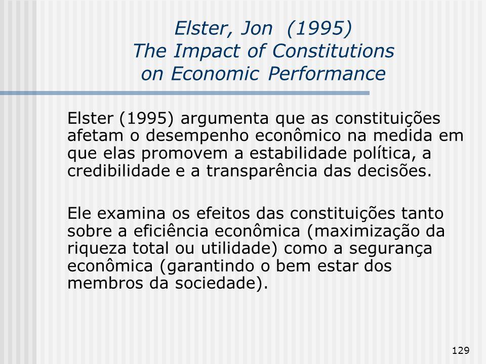 129 Elster, Jon (1995) The Impact of Constitutions on Economic Performance Elster (1995) argumenta que as constituições afetam o desempenho econômico