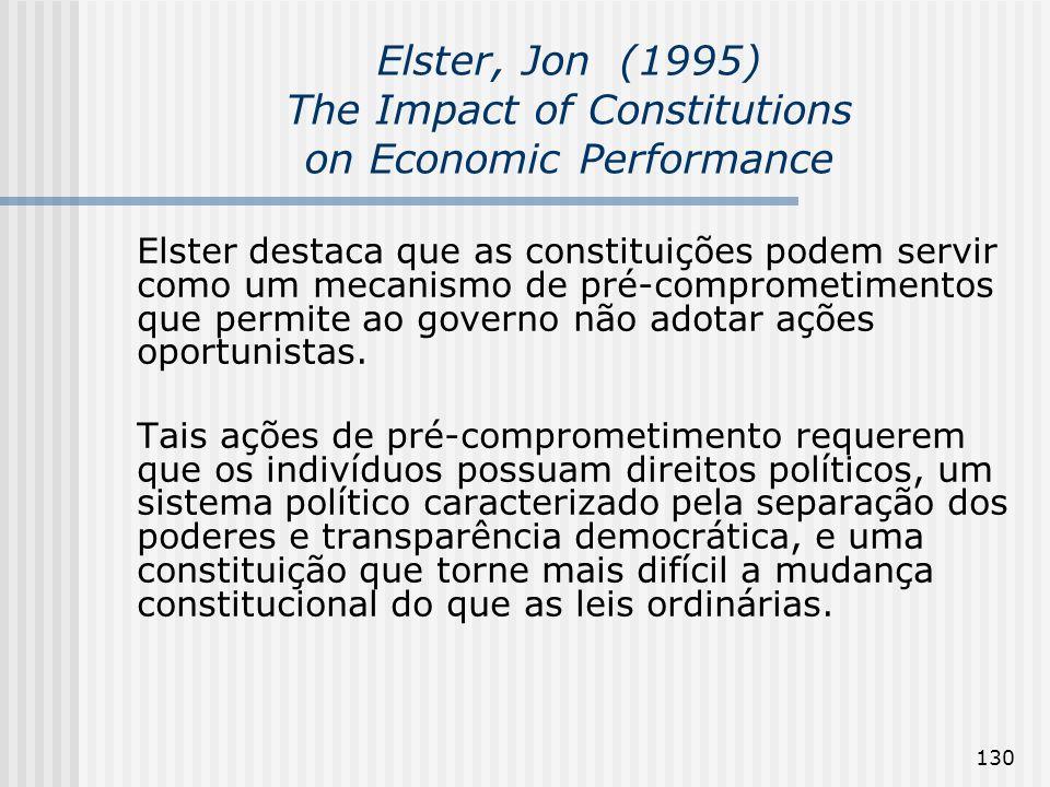 130 Elster, Jon (1995) The Impact of Constitutions on Economic Performance Elster destaca que as constituições podem servir como um mecanismo de pré-c