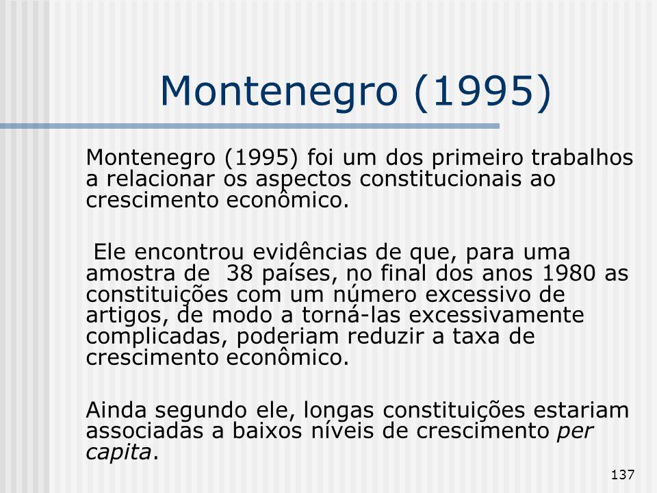 137 Montenegro (1995) Montenegro (1995) foi um dos primeiro trabalhos a relacionar os aspectos constitucionais ao crescimento econômico. Ele encontrou