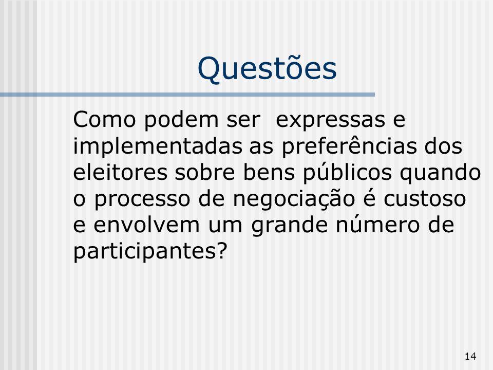 14 Questões Como podem ser expressas e implementadas as preferências dos eleitores sobre bens públicos quando o processo de negociação é custoso e env
