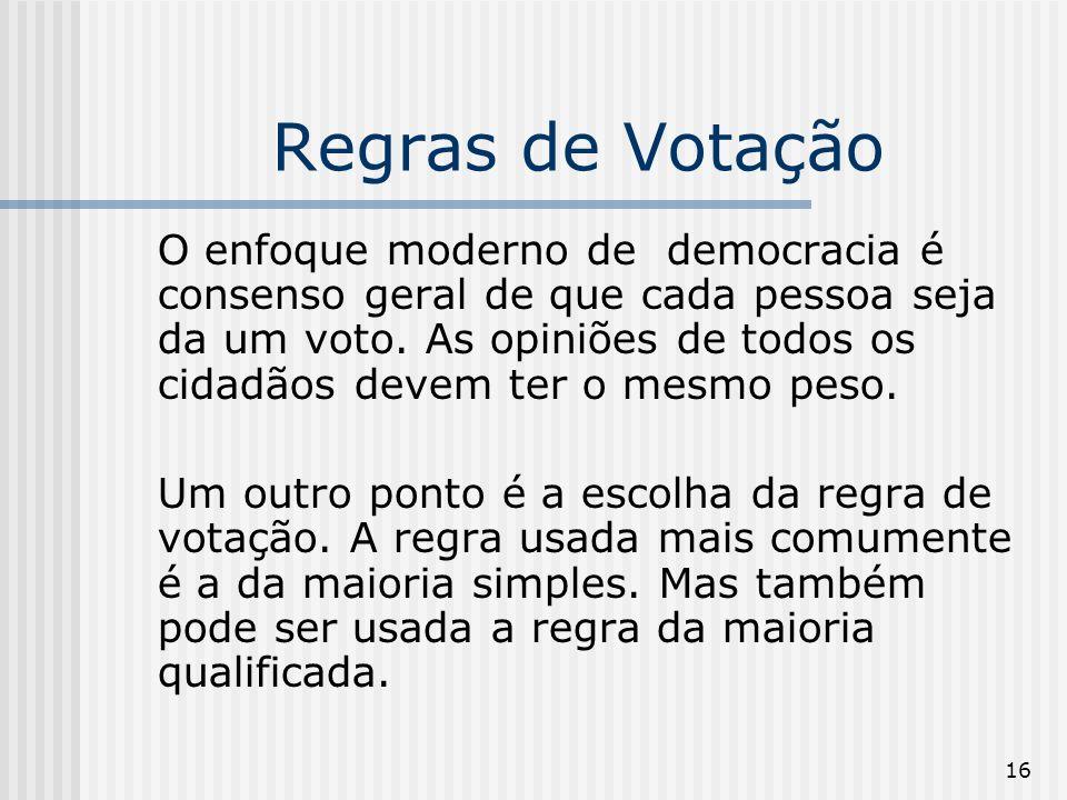 16 Regras de Votação O enfoque moderno de democracia é consenso geral de que cada pessoa seja da um voto. As opiniões de todos os cidadãos devem ter o