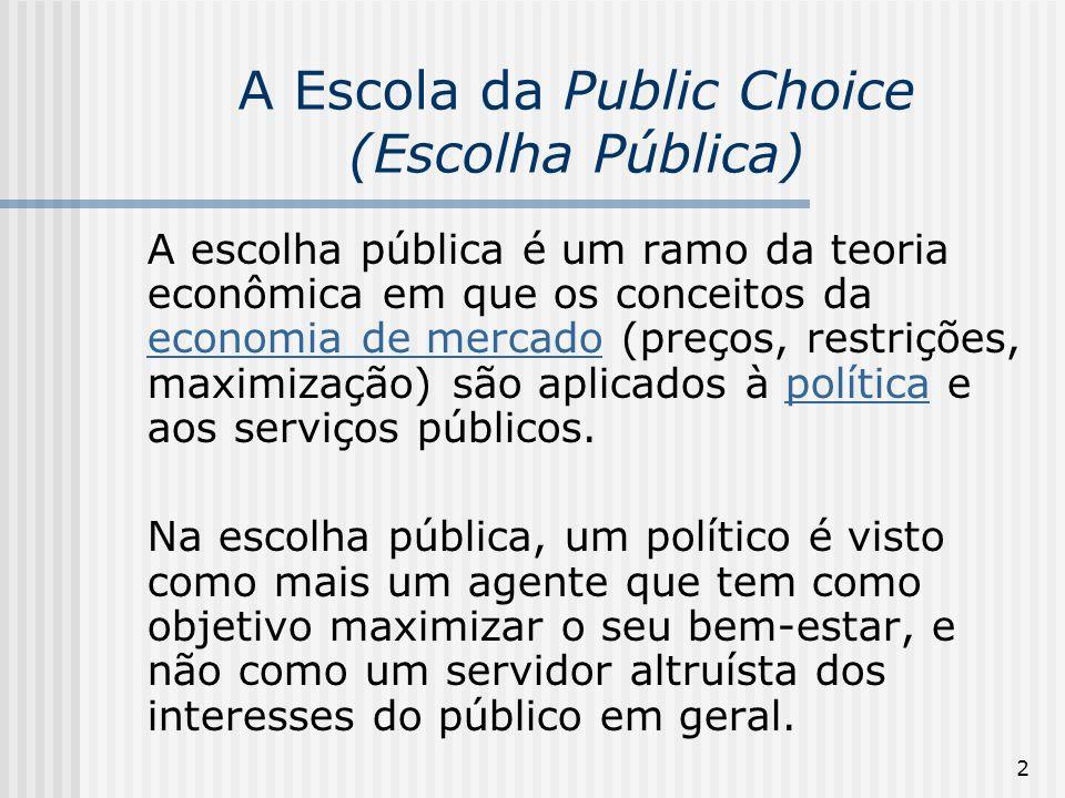 2 A Escola da Public Choice (Escolha Pública) A escolha pública é um ramo da teoria econômica em que os conceitos da economia de mercado (preços, rest