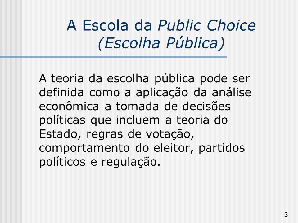 3 A Escola da Public Choice (Escolha Pública) A teoria da escolha pública pode ser definida como a aplicação da análise econômica a tomada de decisões