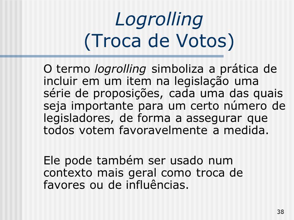 38 Logrolling (Troca de Votos) O termo logrolling simboliza a prática de incluir em um item na legislação uma série de proposições, cada uma das quais