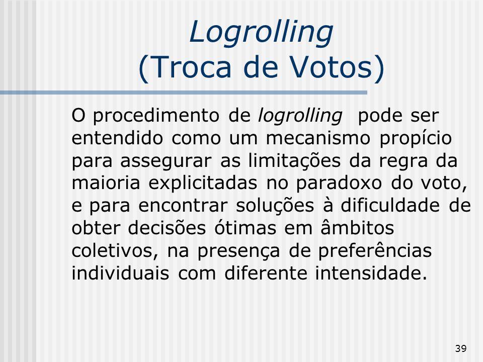 39 Logrolling (Troca de Votos) O procedimento de logrolling pode ser entendido como um mecanismo propício para assegurar as limitações da regra da mai
