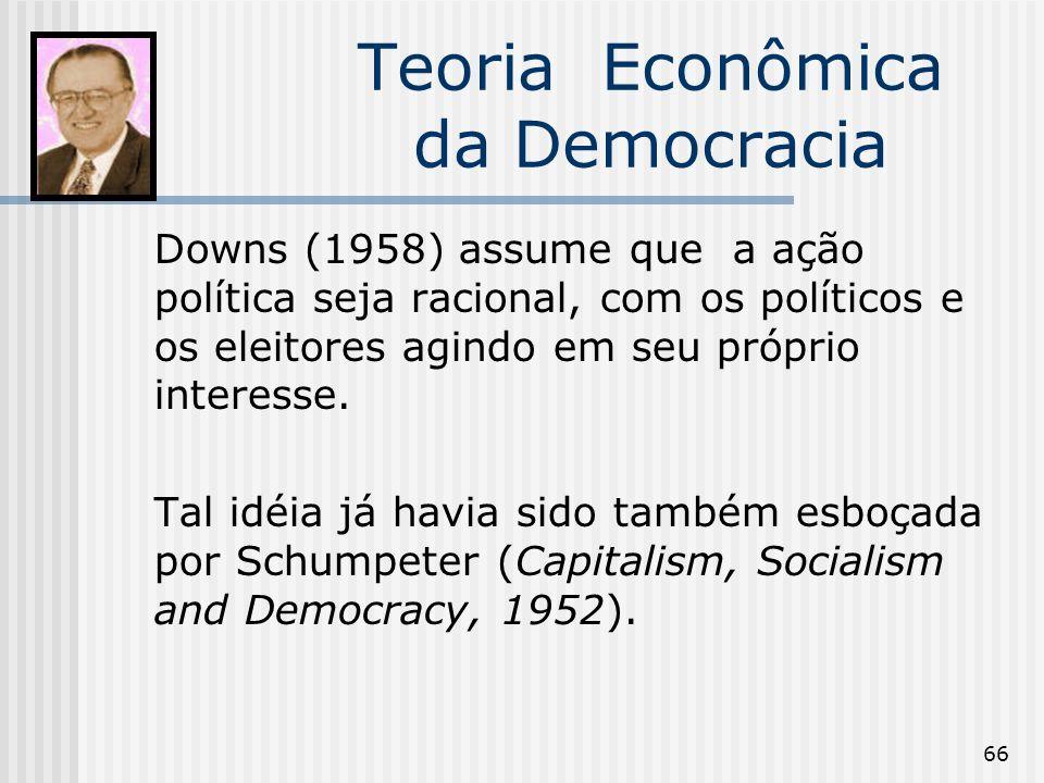 66 Teoria Econômica da Democracia Downs (1958) assume que a ação política seja racional, com os políticos e os eleitores agindo em seu próprio interes