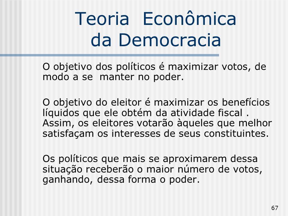67 Teoria Econômica da Democracia O objetivo dos políticos é maximizar votos, de modo a se manter no poder. O objetivo do eleitor é maximizar os benef