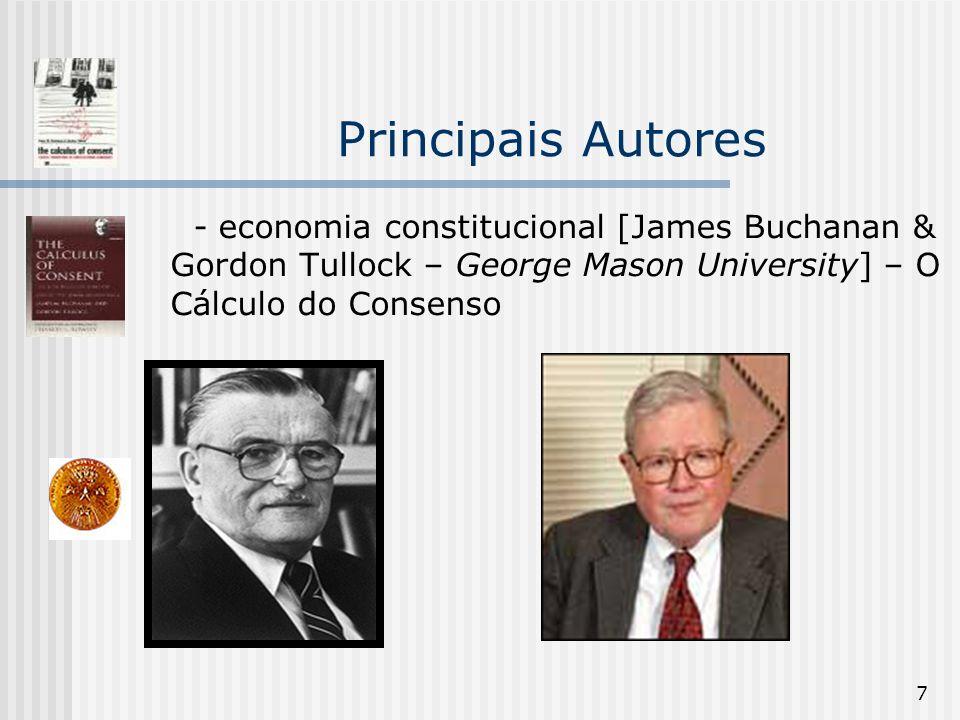 7 Principais Autores - economia constitucional [James Buchanan & Gordon Tullock – George Mason University] – O Cálculo do Consenso
