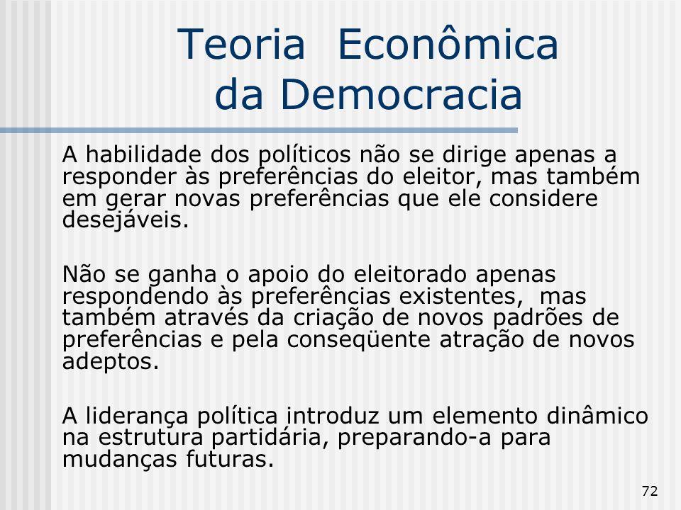 72 Teoria Econômica da Democracia A habilidade dos políticos não se dirige apenas a responder às preferências do eleitor, mas também em gerar novas pr