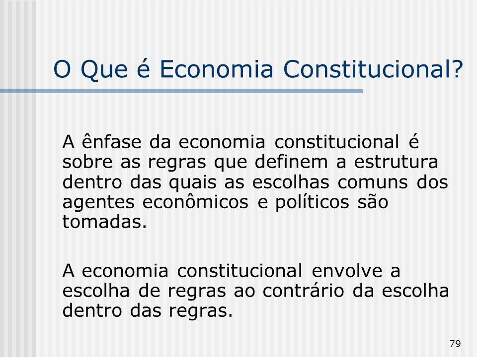79 O Que é Economia Constitucional? A ênfase da economia constitucional é sobre as regras que definem a estrutura dentro das quais as escolhas comuns