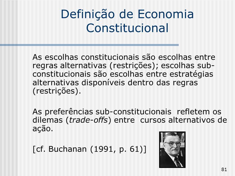 81 Definição de Economia Constitucional As escolhas constitucionais são escolhas entre regras alternativas (restrições); escolhas sub- constitucionais