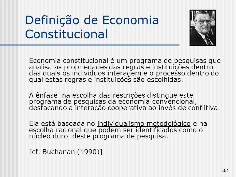 82 Definição de Economia Constitucional Economia constitucional é um programa de pesquisas que analisa as propriedades das regras e instituições dentr