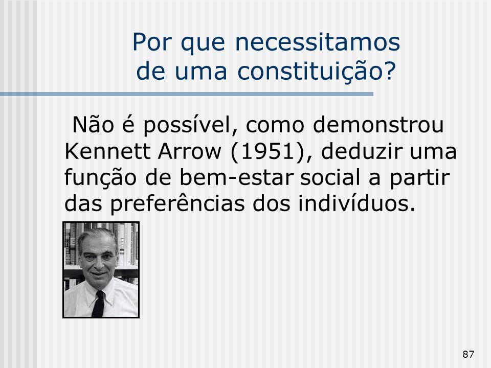 87 Por que necessitamos de uma constituição? Não é possível, como demonstrou Kennett Arrow (1951), deduzir uma função de bem-estar social a partir das