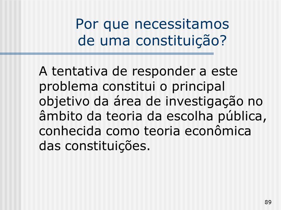 89 Por que necessitamos de uma constituição? A tentativa de responder a este problema constitui o principal objetivo da área de investigação no âmbito