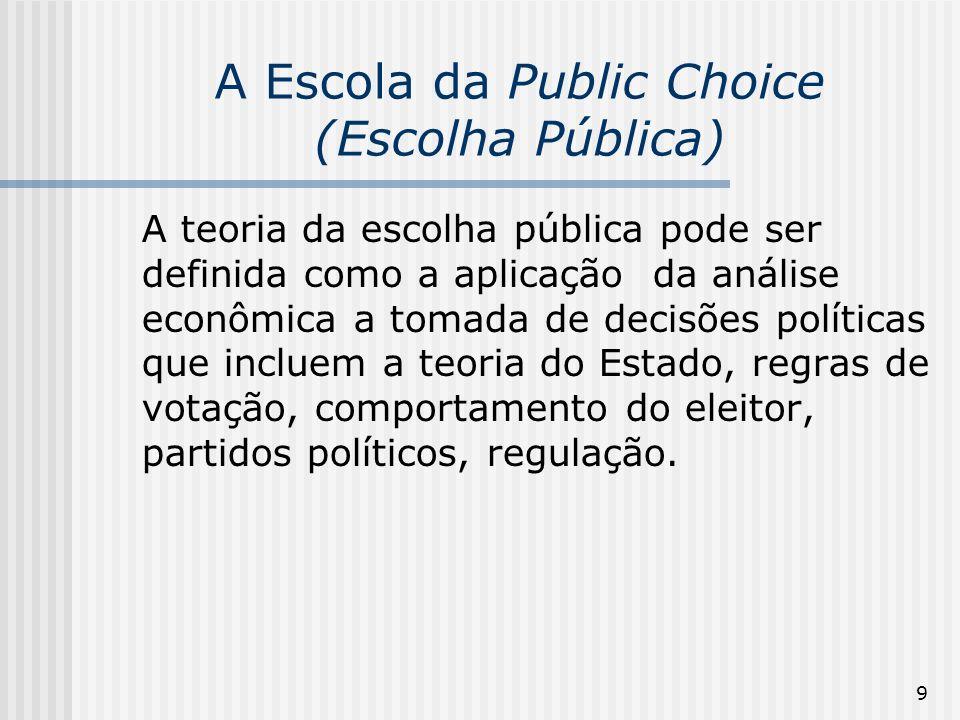 9 A Escola da Public Choice (Escolha Pública) A teoria da escolha pública pode ser definida como a aplicação da análise econômica a tomada de decisões