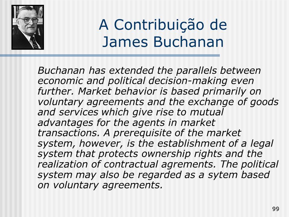 99 A Contribuição de James Buchanan Buchanan has extended the parallels between economic and political decision-making even further. Market behavior i