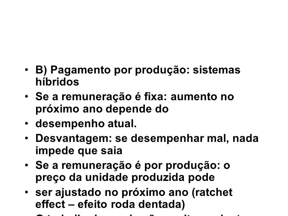 B) Pagamento por produção: sistemas híbridos Se a remuneração é fixa: aumento no próximo ano depende do desempenho atual. Desvantagem: se desempenhar