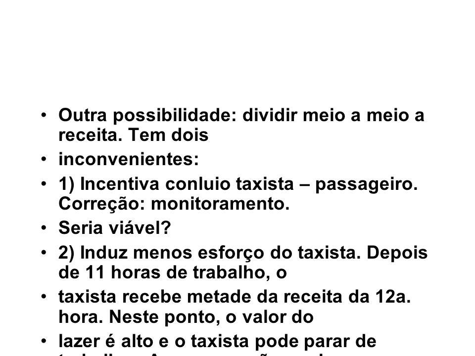 Outra possibilidade: dividir meio a meio a receita. Tem dois inconvenientes: 1) Incentiva conluio taxista – passageiro. Correção: monitoramento. Seria