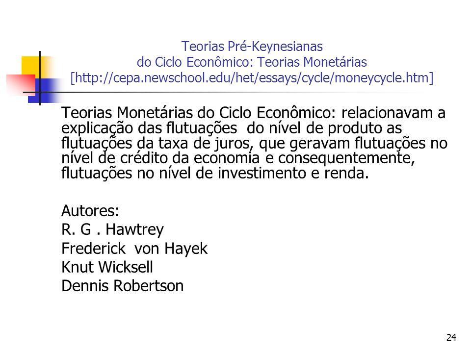 24 Teorias Pré-Keynesianas do Ciclo Econômico: Teorias Monetárias [http://cepa.newschool.edu/het/essays/cycle/moneycycle.htm] Teorias Monetárias do Ci