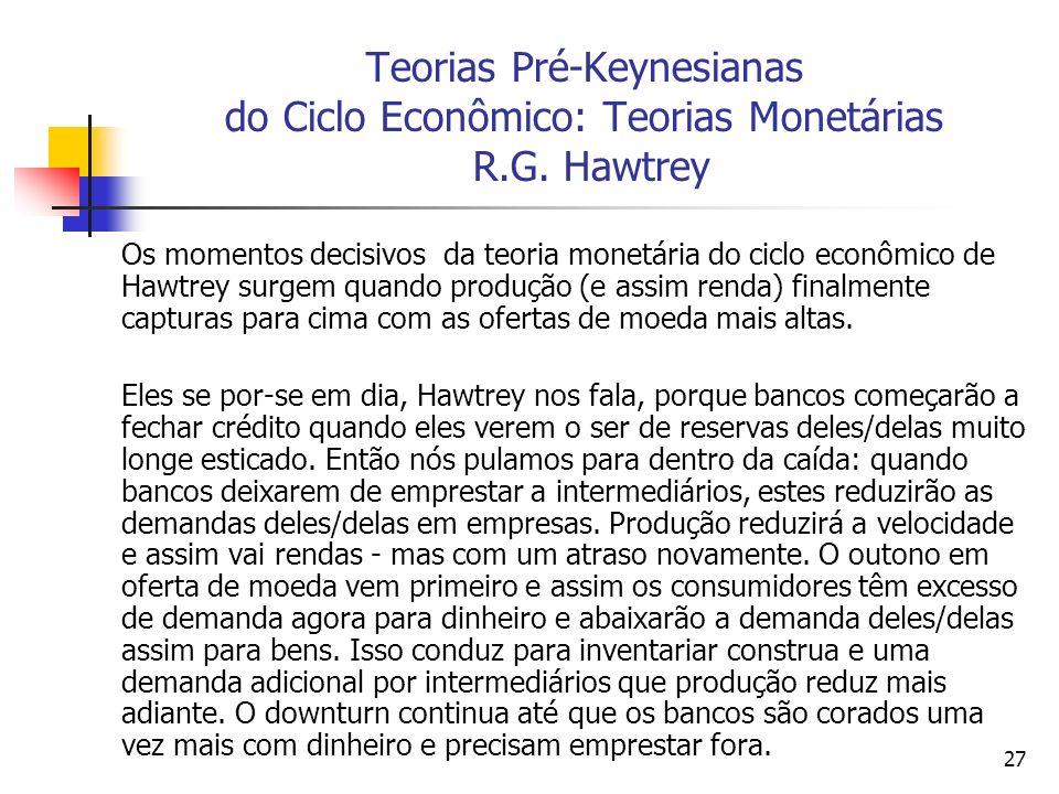 27 Teorias Pré-Keynesianas do Ciclo Econômico: Teorias Monetárias R.G. Hawtrey Os momentos decisivos da teoria monetária do ciclo econômico de Hawtrey